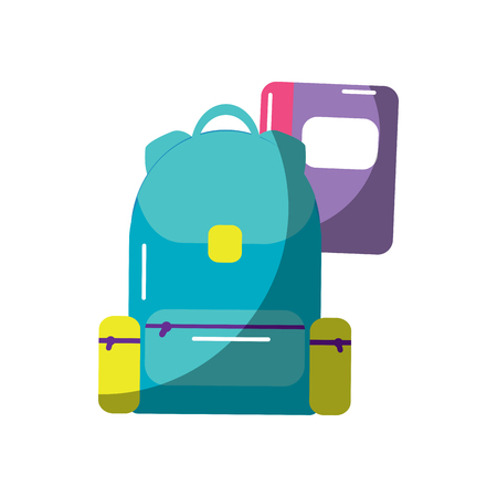 schoolbag with notebook supplies education with zippers vector illustration