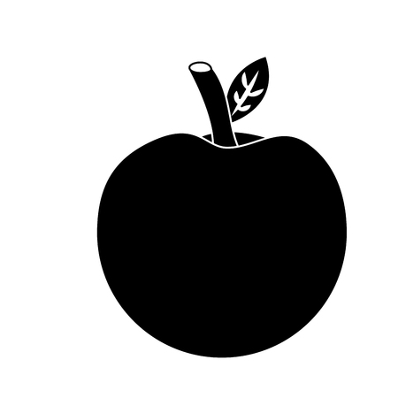 school apple back study elementary symbol vector illustration black image