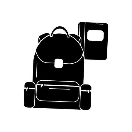 schoolbag with notebook supplies education with zippers vector illustration black image