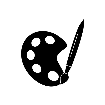 school artistiek palet verf penseel kleur kunst ontwerp vector illustratie zwart beeld