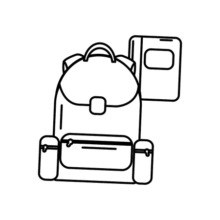 Schoolbag with notebook supplies education, vector illustration.