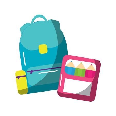 ●スクールバックパックとカラーボックス用品、ベクトルイラスト。