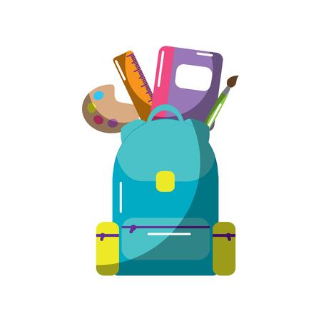 Schoolbag with school supplies education, vector illustration.