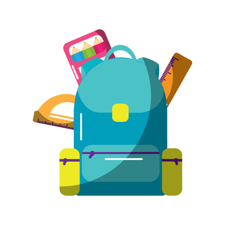 schoolbag with ruler, color protractor vector illustration.