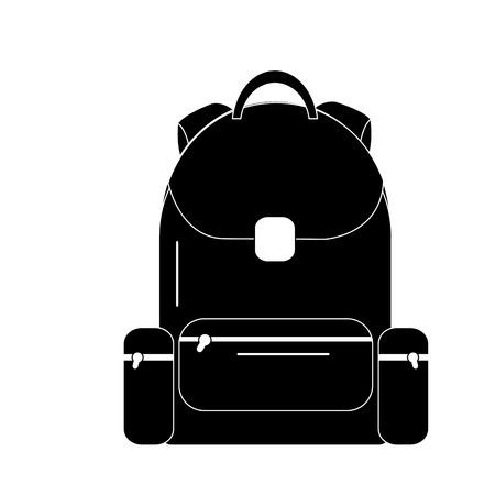 School backpack bag with zipper, vector illustration.