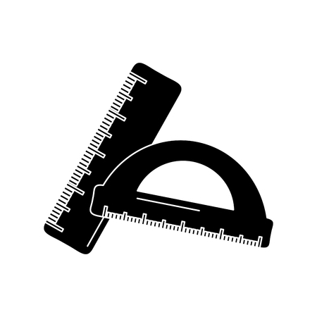 School ruler and protractor geometric measurement, vector illustration. Illustration