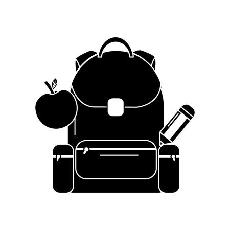 School backpack with apple and pencil, vector illustration. Illustration