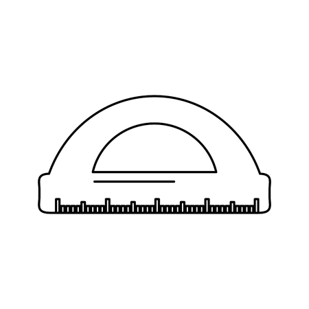 School protractor geometric supply element icon vector illustration.