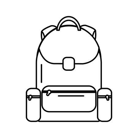 Schulrucksacktasche mit Reißverschluss, Vektorillustration.