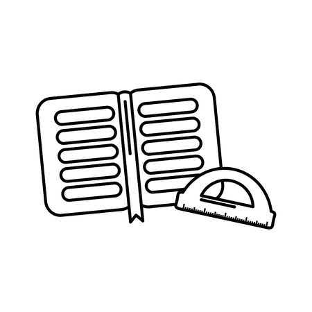 School open book and protractor, vector illustration.