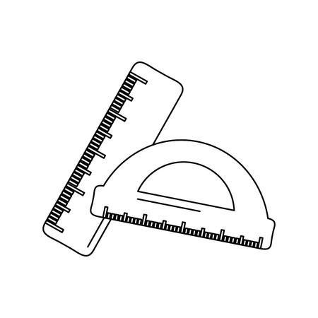 School ruler and protractor geometric measurement, vector illustration. Ilustrace