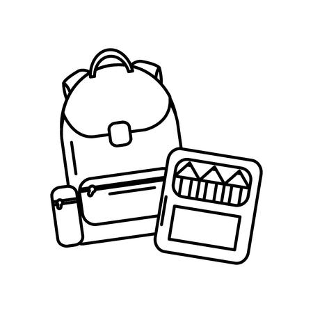 Schoolrugzak en verfdooslevering, vectorillustratie.