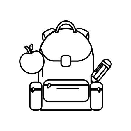 School backpack with apple and pencil back elementary study, vector illustration.