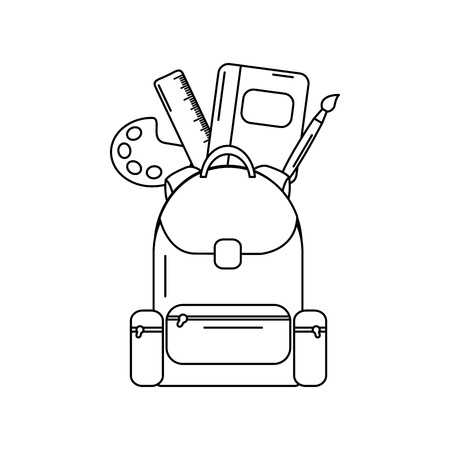 Schoolbag with school supplies education, vector illustration.