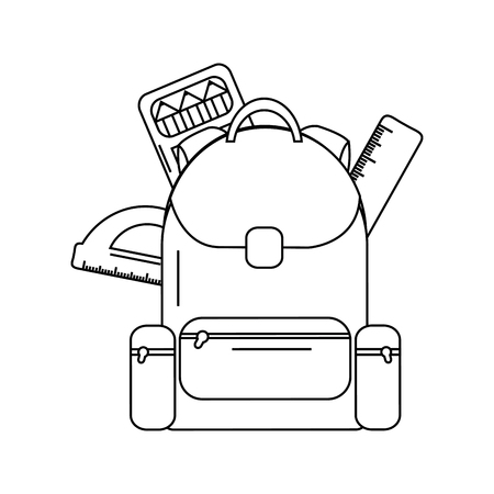 Schoolbag with notebook and school supplies, vector illustration.