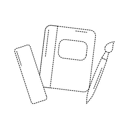 School notebook, liniaal en borstel levert pictogram vectorillustratie.
