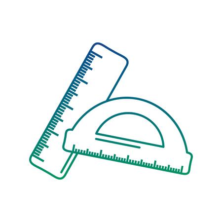 学校の定規と分度器の幾何学的測定、ベクトル図。  イラスト・ベクター素材