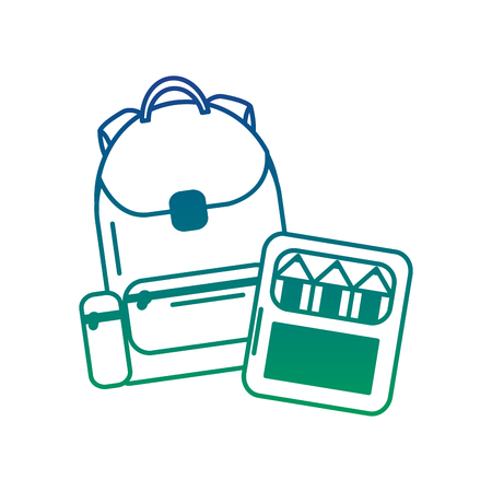 School backpack and color box supplies, vector illustration.