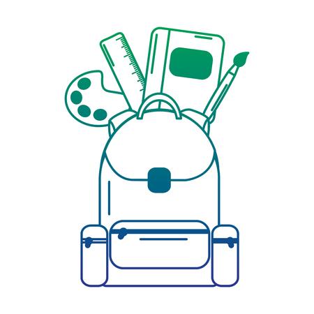 Schoolbag bag with school supplies education, vector illustration.
