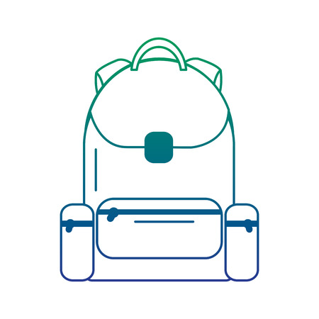 School backpack bag with zipper, vector illustration.