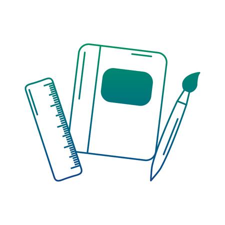 School notebook, ruler and brush supplies icon vector illustration. Illustration