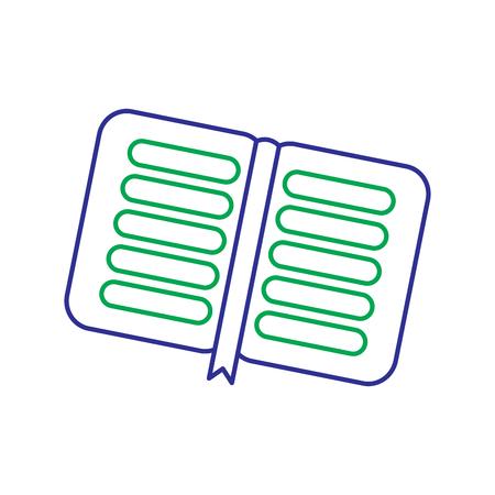 Open book school with bookmark literature, vector illustration. Иллюстрация