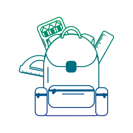 Schoolbag with ruler and protractor, vector illustration.