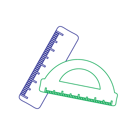 School ruler and protractor geometric measurement vector illustration