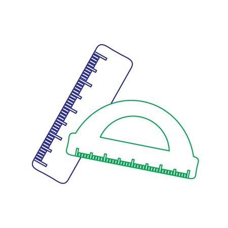 School ruler and protractor geometric measurement vector illustration