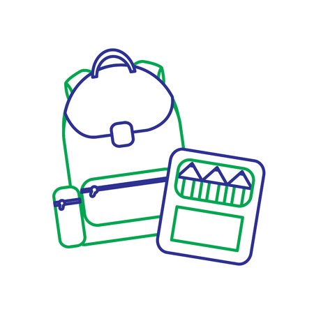 School backpack and color box supplies vector illustration