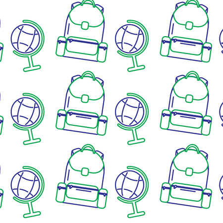 School backpack and globe map world seamless pattern vector illustration