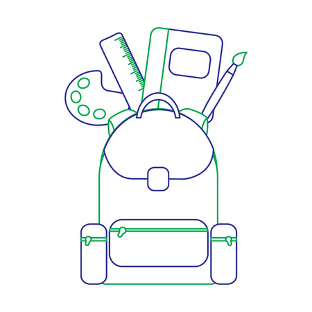 School bag with school supplies education with zippers vector illustration