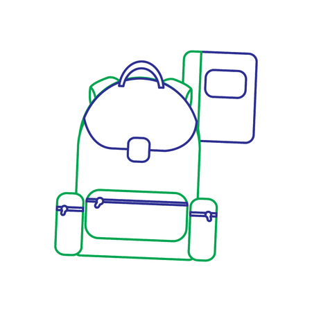 Schoolbag with notebook supplies education vector illustration