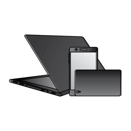 Set of modern digital devices laptop pair mobile phone vector illustration Ilustração