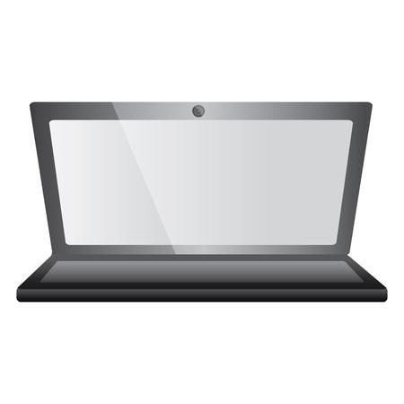 Laptop computer device wireless digital keyboard screen vector illustration Illustration