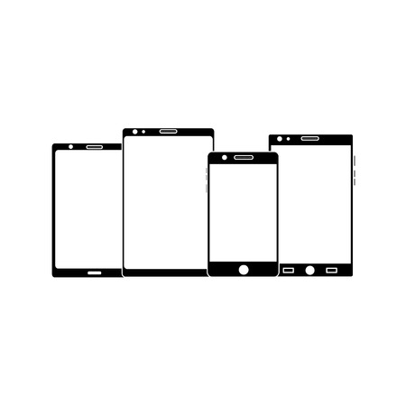Set of mobile phone tablet gadget with blank screen.