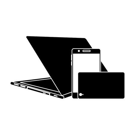 현대 디지털 장치 노트북 및 휴대 전화, 벡터 일러스트 레이 션의 집합입니다.
