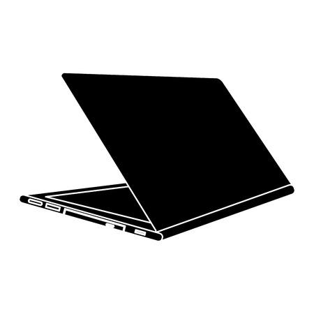Abra o dispositivo digital do ícone da opinião da parte traseira do portátil, ilustração do vetor. Foto de archivo - 90841204