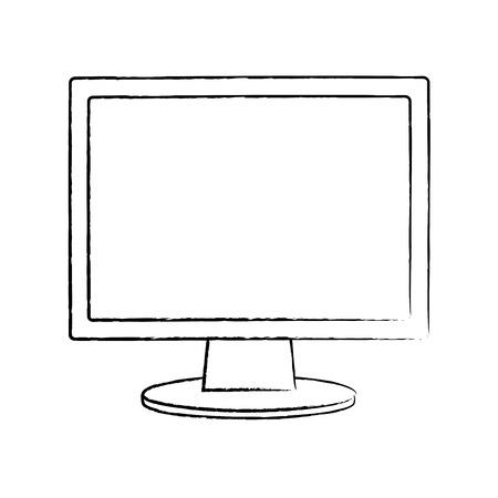 Monitor computer keyboard technology device screen, vector illustration. Illustration