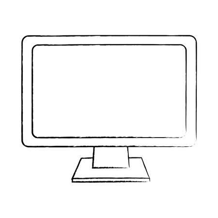 Monitor computer keyboard technology device screen, vector illustration. 向量圖像