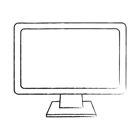 Monitor computer keyboard technology device screen, vector illustration. Illustration