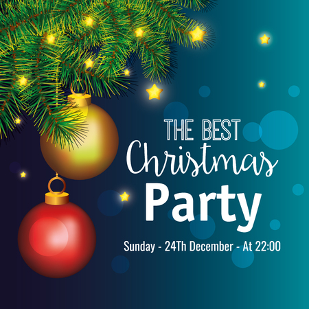 invitation to Christmas party vector illustration design