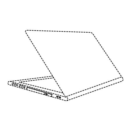 Open laptop achteraanzicht illustratie geïsoleerd op wit
