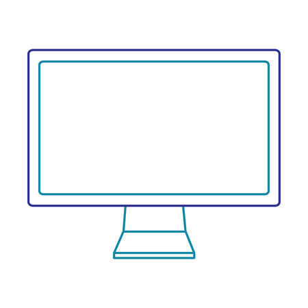 Modern flat screen computer monitor in blue line isolated on white Illustration