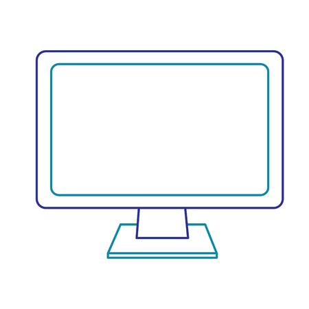 Modern flat screen computer monitor in blue line isolated on white 矢量图像