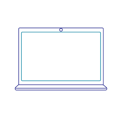Laptop device with blank screen in blue line vector illustration isolated on white Ilustrace