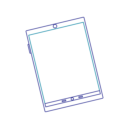 Illustration of tablet with Line icon of gradient from blue to violet colors isolated on white