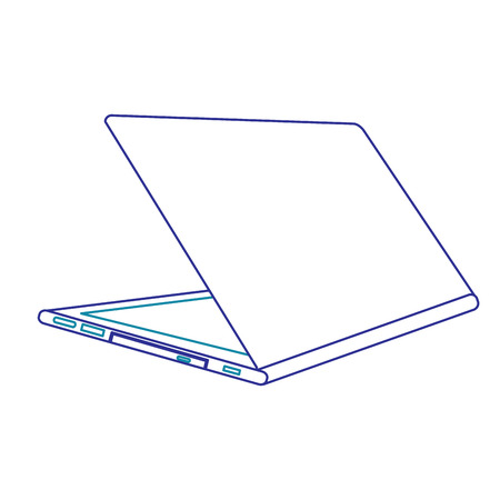 Illustration open laptop with line icon of gradient from blue and violet colors isolated on white