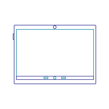 Illustration of tablet with line icon of gradient from blue and violet colors isolated on white