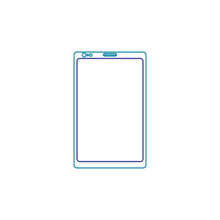 Illustration of cellphone with line icon of gradient from blue and violet colors isolated on white Illusztráció